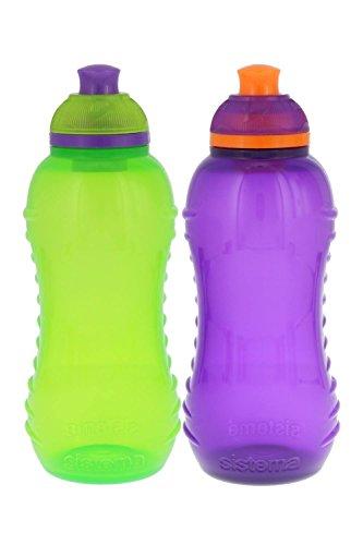 Sistema Lunch Twist N Sip Water Bottle  Green Purple  11 Oz