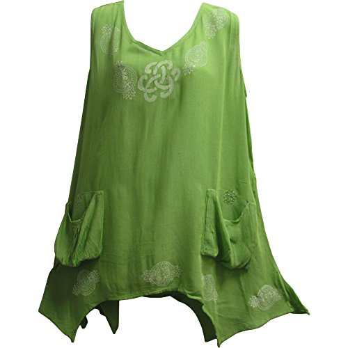 CELTIC Print Spring Summer Sleeveless Two Pocket Tunic Cami Tank Top Blouse (#6 Lime (Celtic Renaissance Clothing)