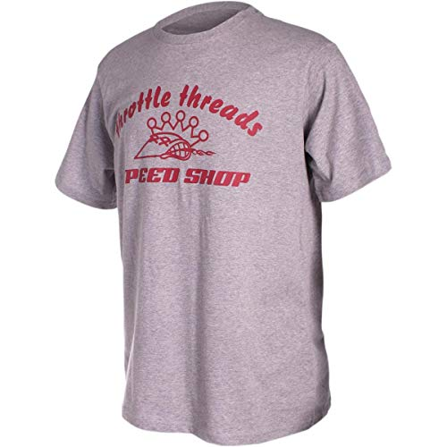 Throttle Threads Speed Shop T-Shirt (Gray, X-Large)