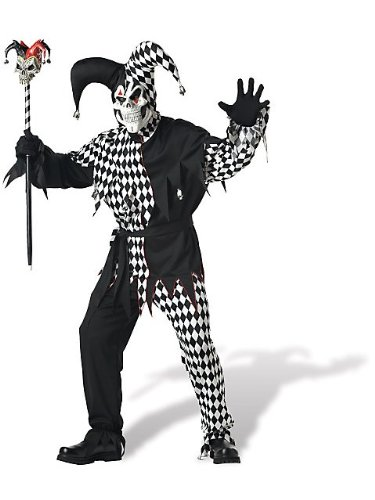 Black and White Evil Jester Adult Costume ()