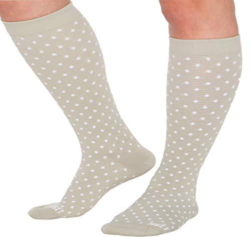 - LISH Spot On Wide Calf Compression Socks - Graduated 15-25 Mmhg Knee High Polka Dot Plus Size Support Stockings (Light Grey, Small/Medium)