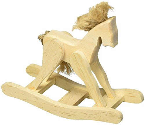 Darice 9129-35 Unfinished Rocking Horse with Jute Accents, 4.5/8-Inch (Accents Horse Rocking Home)