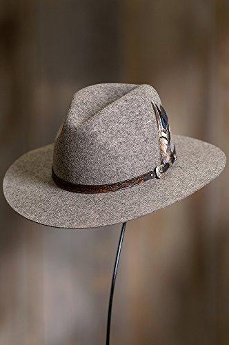 Overland Sheepskin Co. Messenger Bolivian Wool Felt Outback Hat, Brindle MIX, Size 7 3/8 by Overland Sheepskin Co (Image #2)