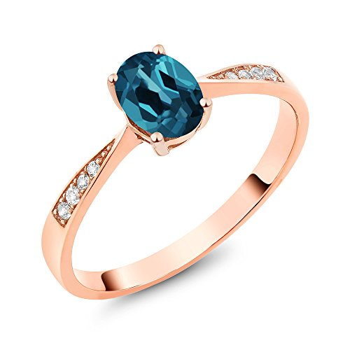10K Rose Gold Diamond Ring with 0.96 Ct Oval London Blue Topaz