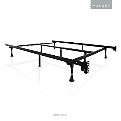 STRUCTURES by Malouf Heavy Duty 9-Leg Adjustable Metal Bed Frame with Center Support and Rug Rollers