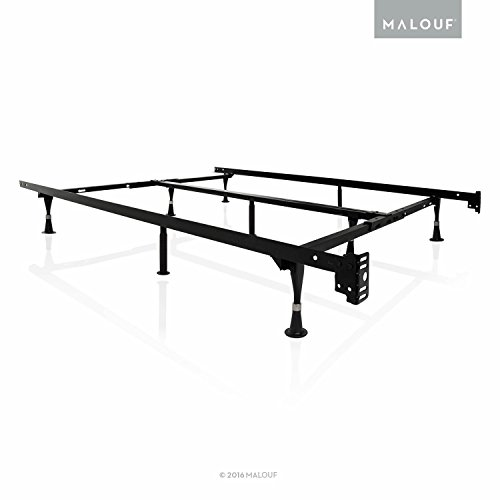 King Metal Bed Frames (MALOUF STRUCTURES by Heavy Duty 9-Leg Adjustable Metal Bed Frame with Double Center Support and Glides Only - UNIVERSAL (Cal King, King, Queen, Full XL, Full, Twin XL, Twin))