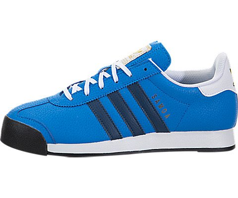 adidas Originals Samoa J Sneaker (Big Kid), Shock Blue/Shadow Blue/Metallic/Gold,