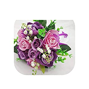 Magic day-Wedding Bouquet Bridal Bouquet Silk Artificial Roses Peony Pink Wedding Bouquets for Bridesmaids Artificial Flowers Decor,Purple 37