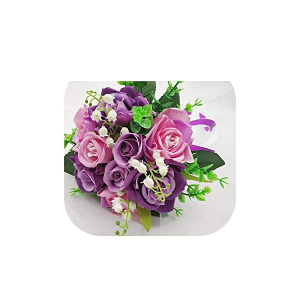 Magic day-Wedding Bouquet Bridal Bouquet Silk Artificial Roses Peony Pink Wedding Bouquets for Bridesmaids Artificial Flowers Decor,Purple
