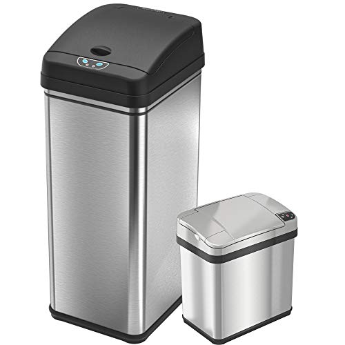 iTouchless 13 Gallon and 2.5 Gallon Sensor Trash Cans (Set of 2), Stainless Steel Bins for Kitchen and Bathroom, Odor Control - Trash Set