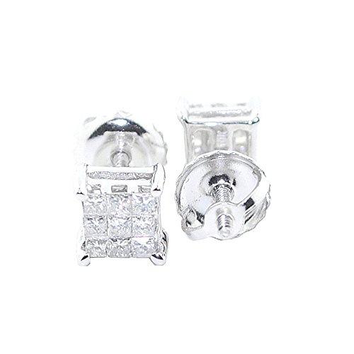 1/4cttw Princess Cut Diamond Earrings 10k White Gold Diamonds Screw Back 5MM Wide (0.25ctw, 9 Diamond) (White Invisible Gold Set)