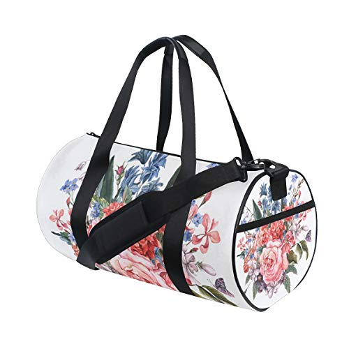 Hyacinth Rose Bouquet - YCHY Gentle Spring Floral Bouquet Roses Hyacinths butterfly Water Resistant Gym Sports with independent zipper Travel Duffel Bag for Women and Men