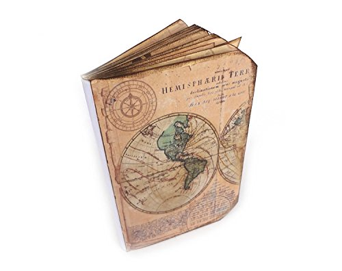 [Handmade Travel Journal with Pockets, Vintage Style Map Travel Log] (Log Costume)