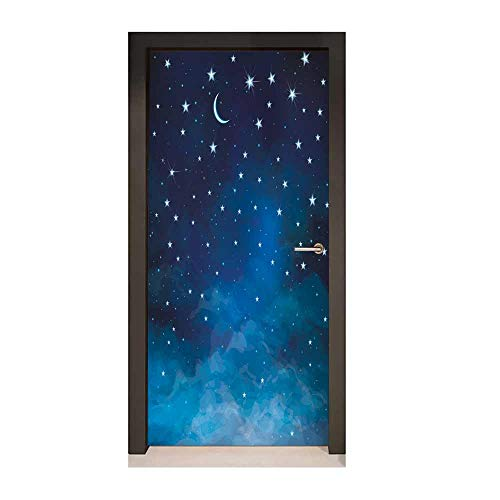 Sky Decorative Door Sticker Abstract Night Time Illustration Stars and Crescent Moon Constellation Astrology Removable Vinyl Blue Dark Blue,W23.6xH78.7