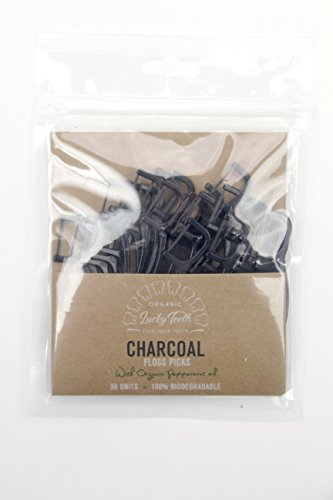 (Biodegradable Activated Charcoal Floss Picks with Organic Peppermint Oil, Plastic free. ZERO WASTE - 30 units)