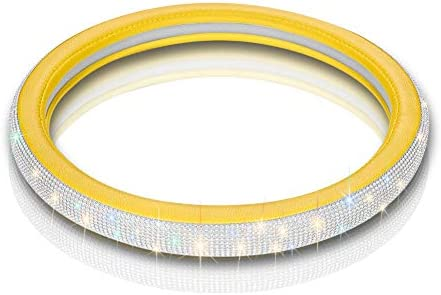 with Premium Bling Bling Diamond 15 inch Otostar Luxury Litchi Soft Leather Crystal Steering Wheel Cover Yellow
