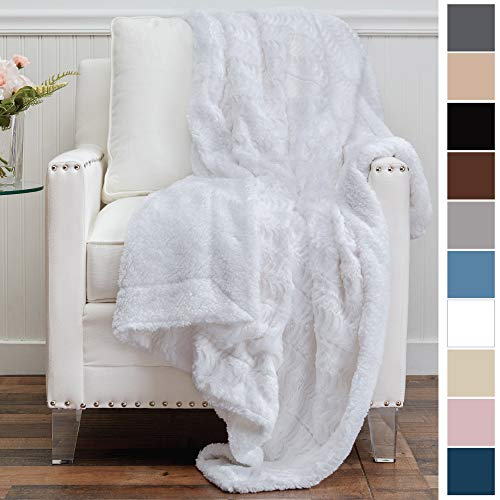 Luxury Throw Blanket - The Connecticut Home Company Luxury Faux Fur with Sherpa Reversible Kids Throw Blanket, Super Soft, Large Wrinkle Resistant Blankets, Warm Hypoallergenic Washable Couch/Bed Throws, 65x50 (White)