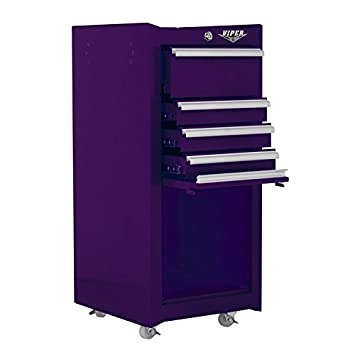 Viper Tool Storage V1804PUR 16 Inch 4 Drawer 18G Steel Rolling Tool / Salon