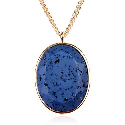 RIAH FASHION Aromatherapy Essential Oil Diffuser Lava Stone Bead Charm Chain - Volcanic Rock Locket Pendant Perfume Necklace Heart/Owl/Filigree/Flower (Oval Lava - Blue) ()
