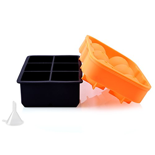 Ice Cube Trays Silicone Set of 2, RUN ANT Sphere Round Ice Ball Maker and Large Square Ice Cube Mold for Chilling Burbon Whiskey,Vodka, Cocktail, Beverages and More