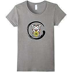 Womens Lucky Cat Zen Calligraphy Circle Shirt Medium Slate