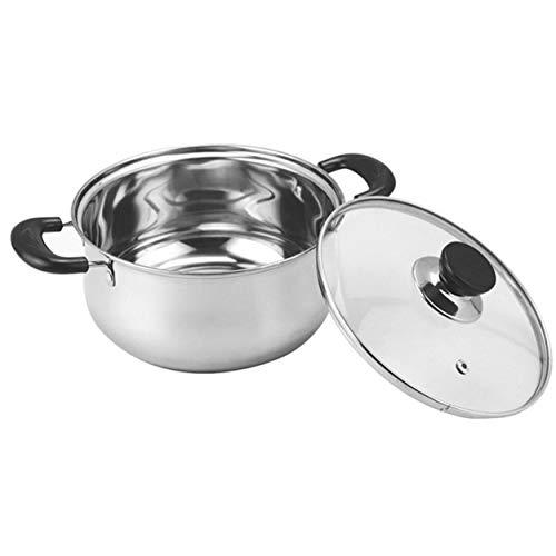 20 cm de diámetro, estilo coreano, espesante, olla de cocina de acero inoxidable con tapa de vidrio, asas dobles, utensilios...
