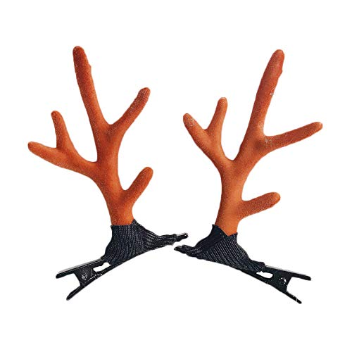 Toyvip Christmas Hair Clips Antler Hair Accessories Fancy Dress Costum Party Gift Size 1 Pair (Coffee)]()