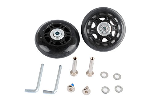 Wadoy Luggage Suitcase Wheels Replacement Kit Parts with Axles Screws Washers Wrenches for Inline Outdoor Skate (70x24mm 2 Sets)