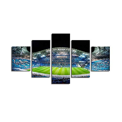 Decoration 5 Pieces Wall Art Football Stadium, Night Scene Canvas Art Painting Poster Print Pictures, for Living Room Bedroom Kitchen Home Or Hotel Office Decor Gift Piece Frameless