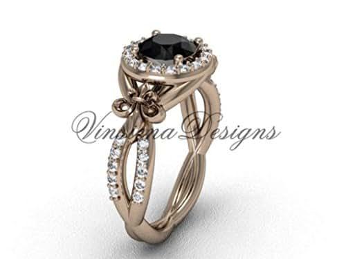 Amazon.com: 14kt rose gold diamond Fleur de Lis, halo