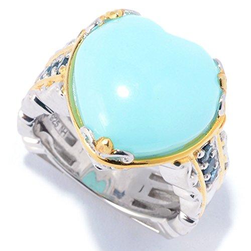 Michael Valitutti Palladium Silver Peruvian Opal & Gemstone Heart Ring