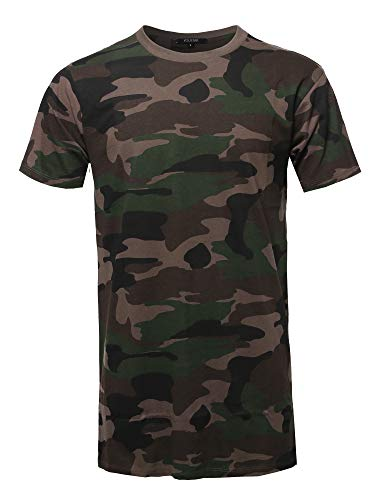Youstar Solid Basic Short Sleeve Crew Neck Tee Camouflage XL