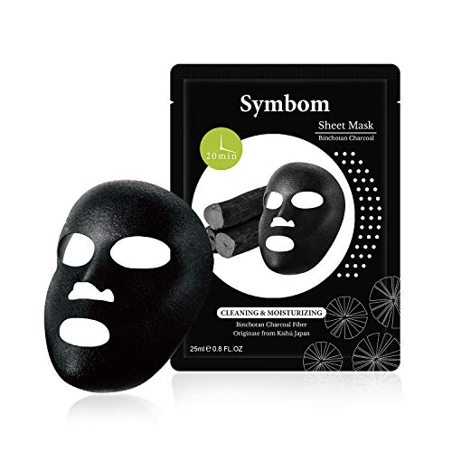 SYMBOM 10 Pack Natural Binchotan Charcoal Collagen Essence Face Mask Sheet,Deep Cleansing and Brightening Facial Mask,Moisturizing with Hyaluronic Acid Sheet Mask ()