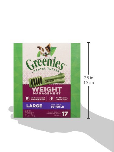 GREENIES Weight Management Large Natural Dog Dental Care Chews Weight Control Dog Treats, 27 oz. Pack (17 Treats)