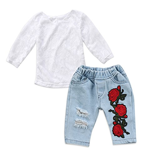 Toddler Kids Baby Girls 3D Flower Lace Tops Denim Pants Jeans Outfit Set Clothes (6-9M, White) from Emmababy