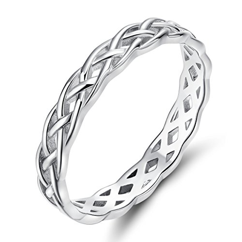 925 Silver Celtic Weave Ring - 925 Sterling Silver Celtic Knot Eternity Band Ring Engagement Wedding Band 4mm Size 4 - 11