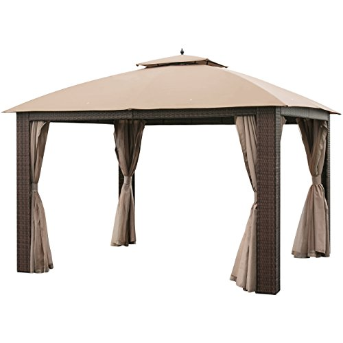 Best Choice Products Outdoor 12′ x 10′ Soft Top Patio Wicker Gazebo Canopy W/ Fully Enclosed Mosquito Netting