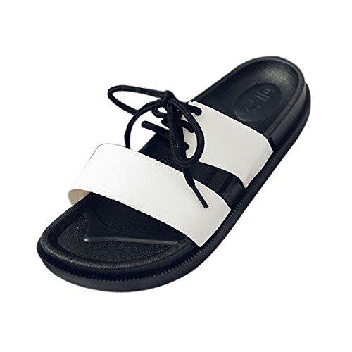 BUIMIN Chancletas Zapatillas Para Adulto-Unisex Atractiva De Pareja Correas Antideslizantes Transpirable Para Playa Casual Moda Verano Color Negro/Blanco. (44-45, Blanco)
