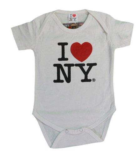 (I Love NY New York Baby Infant Screen Printed Heart Bodysuit White Large 18 M. )