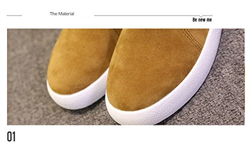 Toe Comfort Gaorui Boots Suede Top Flat Shoes Ankle Black Women Lace Round Lady Board High up xtpTqp8H