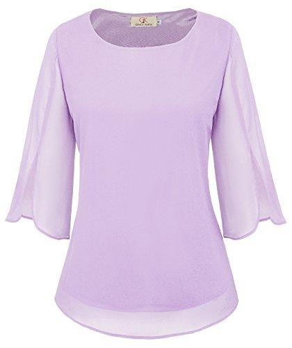 GRACE KARIN Women's 3/4 Petal Sleeve Chiffon Blouse Casual T-Shirt Tops Size M Purple