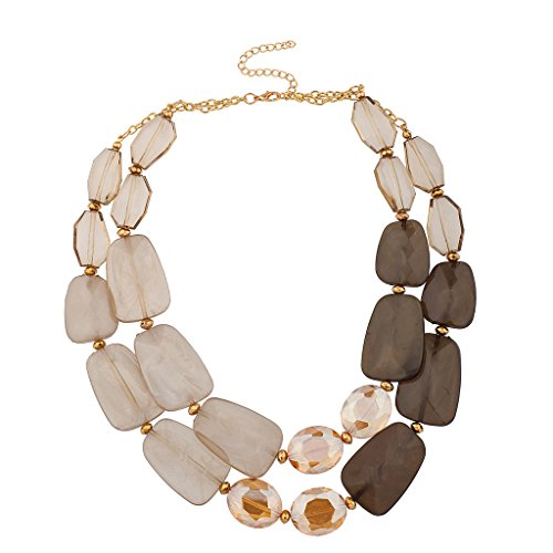 Lux Accessories Brown Clear Acrylic Stone Statement Necklace