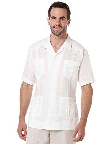 Cubavera Short Sleeve 100% Linen Plain Front Pleated Guayabera Shirt, White, ()