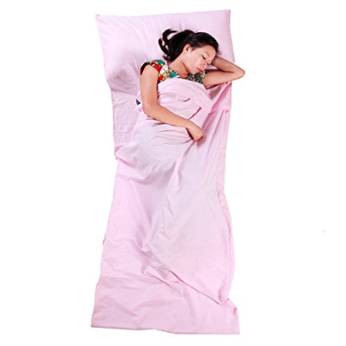 Hi Suyi Lightweight Portable Single Sleepsack Camping Sheet Sleeping Bag Liner for Camp Outdoor Hostel Planes Train Travel 210x75cm
