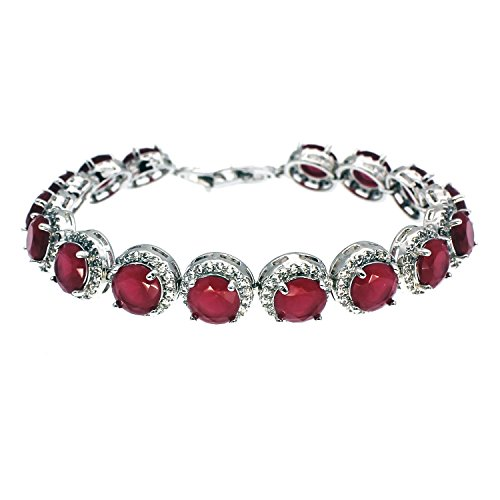 HERMOSA Gorgeous Bracelets for Women Combination Ruby Sapphire Emerald Pink Topza 925 Silver 7 inch (Ruby)