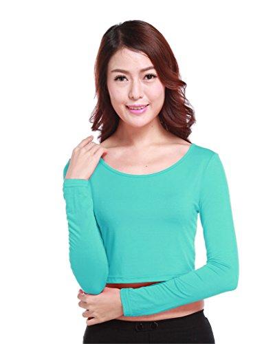 GladThink la mujer musulmana camiseta de manga larga de media longitud y CornflowerAzul