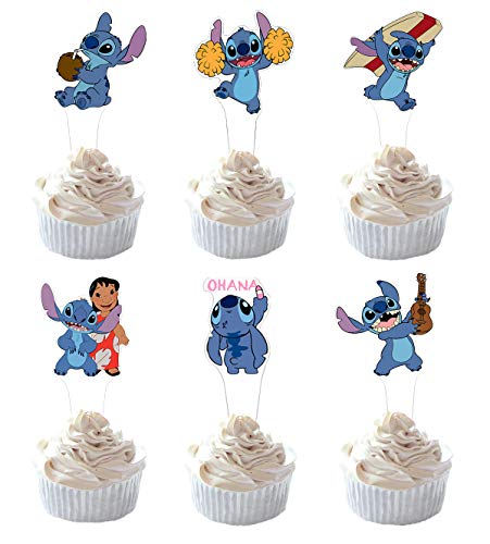Lilo And Stitch Decorations (Party Hive 24pc Lilo Stitch Cupcake Toppers for Kids Birthday Party Event)
