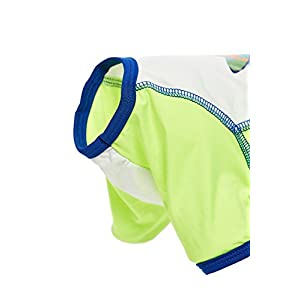 Toy Dog Rashie Swimsuit For Yorkie Maltese Chihuahua Papillon Min Pin Mini Foxie (Toy Size, Lime green, blue, white)