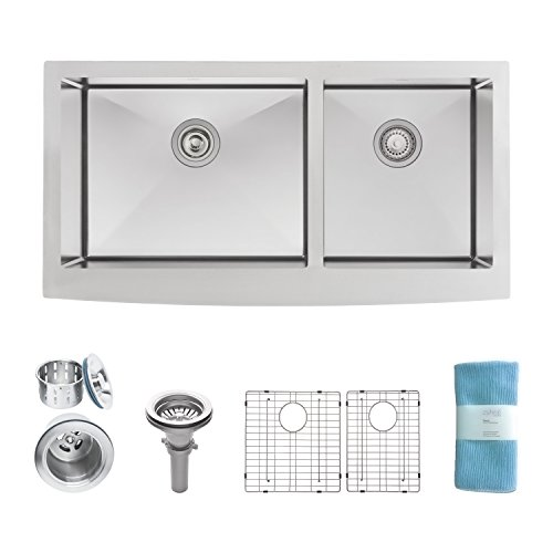 Zuhne Turin 36 Farmhouse Apron 60/40 Deep Double Bowl Stainless Steel Luxury Kitchen Sink, 16 Guage (Double Bowl Apron)