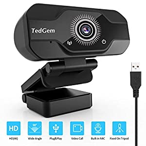 TedGem Webcam, Full HD 4K/1080P PC Webcam Camera con Microfono USB Live Streaming Webcam per Videochiamate e Registrazione, Gaming, Piccola/Flessibile/Regolabile, Supporta Windows, Android, Linux 1 spesavip